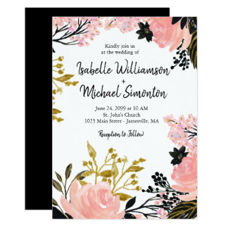 Blush Pink, Black, Gold Floral Wedding Invitations