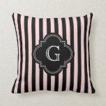 Blush Pink, Black Stripe Pattern Monogram Throw Pillow