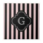 Blush Pink, Black Stripe Pattern Monogram Ceramic Tile