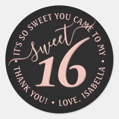 Blush Pink Black Sweet 16th Birthday Party Favor Classic Round Sticker