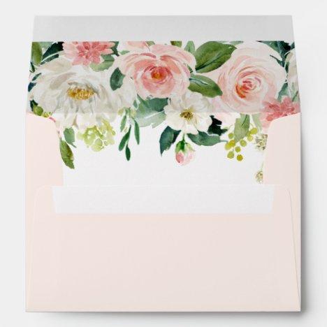 Blush Pink Bloom Pre-Printed Address 5x7 Envelope