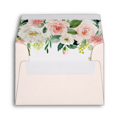 Blush Pink Bloom Pre-Printed Address RSVP Envelope