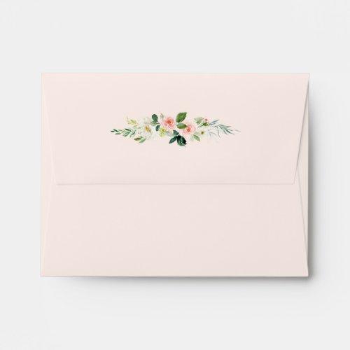 Blush Pink Bloom Pre-Printed Address RSVP Envelope
