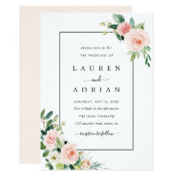 Blush Pink Bloom Wedding Invitation