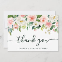 Blush Pink Bloom Wedding Thank You Card