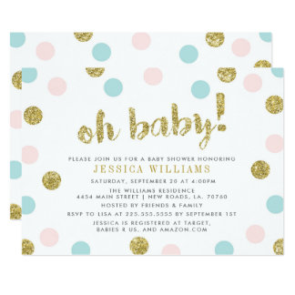 Blush Pink, Blue and Gold Baby Shower Invitation