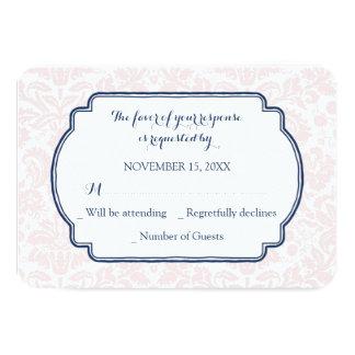 Blush Pink Blue Damask RSVP Wedding Card