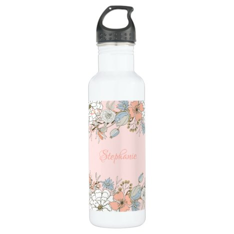 Blush Pink Blue Floral Personalized Stainless Steel Water Bottle