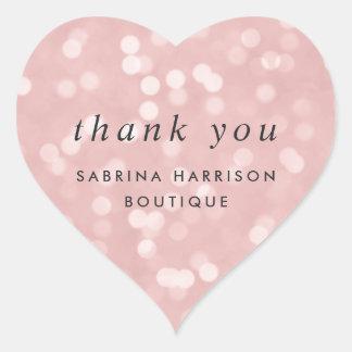 Blush Pink Bokeh | Personalized Business Thank You Heart Sticker