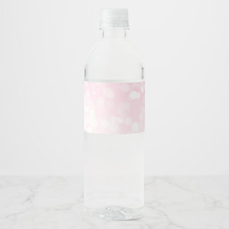 Blush Pink Bokeh Water Bottle Labels