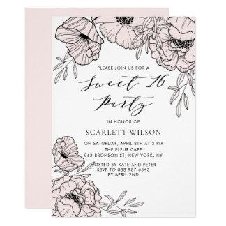 Blush Pink Botanical Sweet 16 Party Invitation