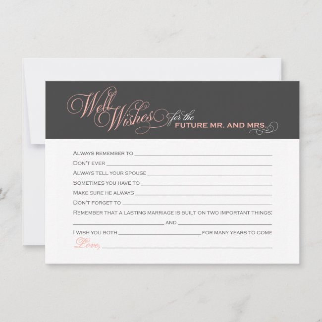 Blush Pink Bridal Shower Well Wishes Advice Card