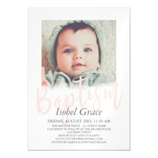 Blush Pink Brush Script Photo Baptism Magnetic Card
