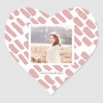 Blush Pink Brush Strokes with Photo and Name Heart Sticker