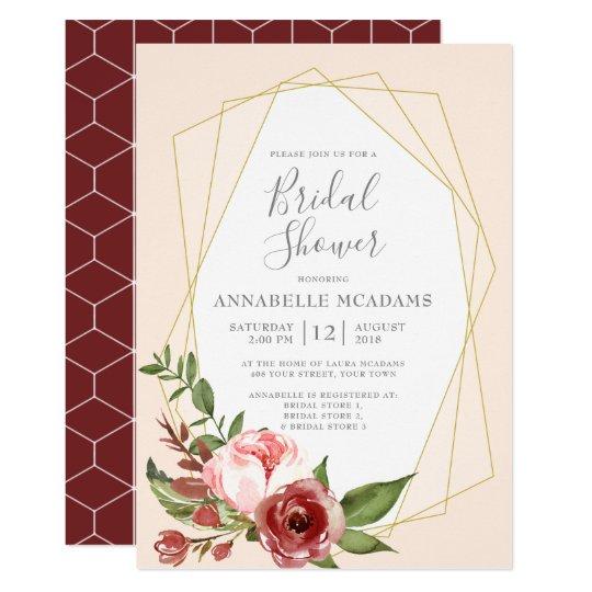 95a7aeea3511 Blush Pink Burgundy Floral Geometric Bridal Shower Invitation ...