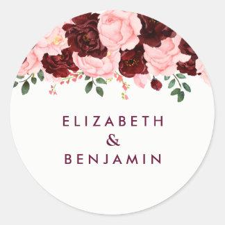 Blush Pink & Burgundy Floral Watercolor Wedding Classic Round Sticker
