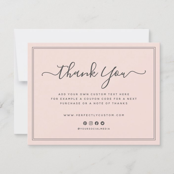 Blush Pink Business Thank You Note