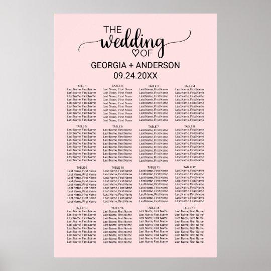 Blush Pink Calligraphy Wedding Seating Chart