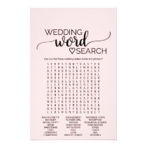 Blush Pink Calligraphy Wedding Word Search Game Flyer