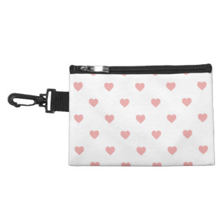 Blush Pink Candy Polkadot Hearts on White Accessories Bags