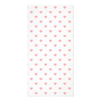 Blush Pink Candy Polkadot Hearts on White Personalized Photo Card