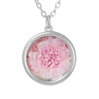 Blush Pink Carnations Round Pendant Necklace
