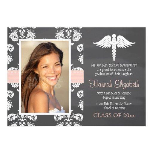 Blush Pink Chalkboard Nursing School Graduation Cards