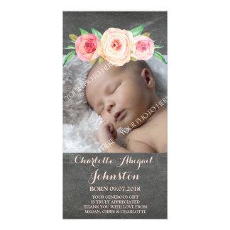 Blush Pink Chalkboard Thank You Baby Shower Card