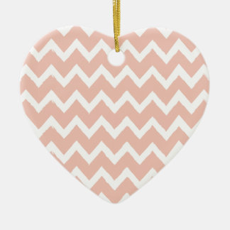 Blush Pink Chevron and White Pattern Ceramic Ornament