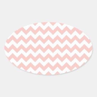 Blush Pink Chevron Oval Sticker