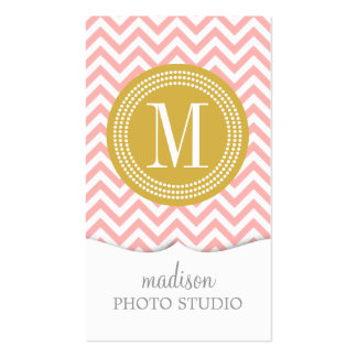 Blush Pink Chevron Zigzag Personalized Monogram Double-Sided Standard Business Cards (Pack Of 100)