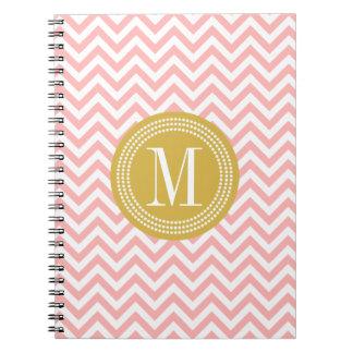 Blush Pink Chevron Zigzag Personalized Monogram Notebook