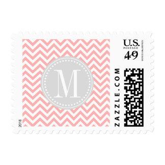 Blush Pink Chevron Zigzag Personalized Monogram Stamp