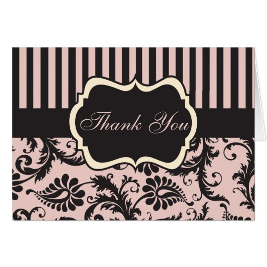 Blush Pink, Cream, Gray Damask Thank You Card