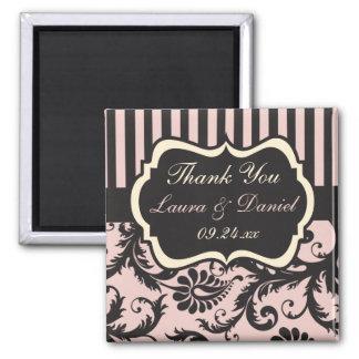 Blush Pink, Cream, Gray Damask Wedding Favor 2 Inch Square Magnet
