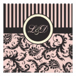 Blush Pink, Cream, Gray Stripe Damask Monogrammed Custom Announcements