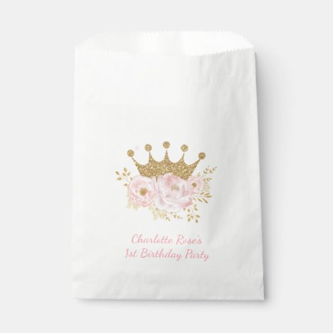 Blush Pink Crown Princess Baby Shower Birthday Favor Bag