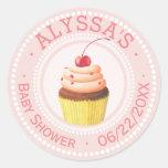 Blush Pink Cupcake Baby Shower | Personalized Classic Round Sticker