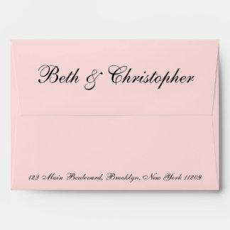 Blush Pink Custom Return Address Wedding Envelope