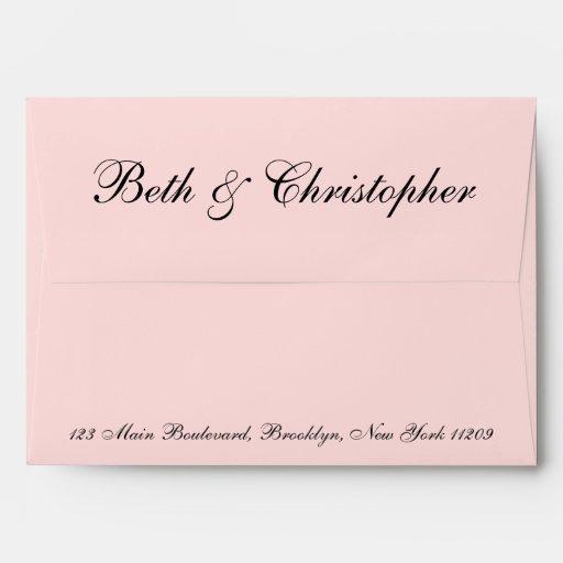 Wedding Gift Envelope Address : Blush Pink Custom Return Address Wedding Envelope Zazzle