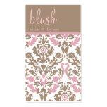 Blush Pink Damask Elegant Business Card