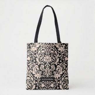 Blush Pink Damask on Black Tote Bag