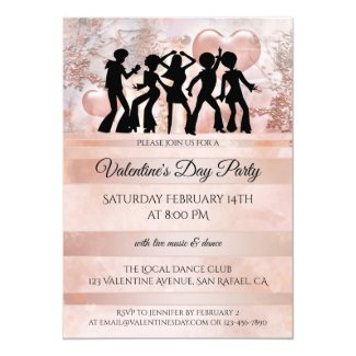 Blush Pink Dance Valentines Day Party Invitation