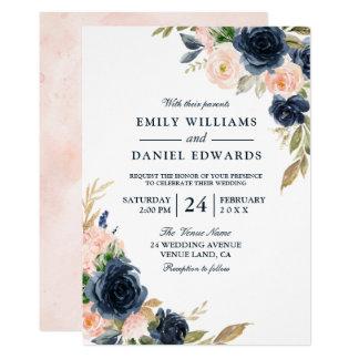 Blush Pink & Deep Navy Elegant Spring Wedding Invitation