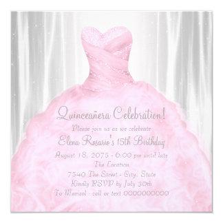 Blush Pink Dress Elegant Pink Quinceañera Card