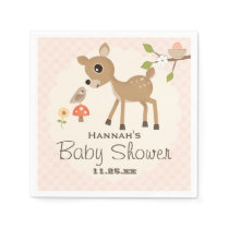 BLush Pink Egg Woodland Deer Baby Shower Paper Napkin