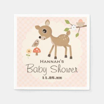 Toddler & Baby themed BLush Pink Egg Woodland Deer Baby Shower Paper Napkin