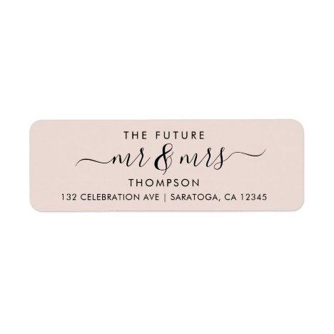Blush Pink Elegant Chic Future MR and MRS Address Label