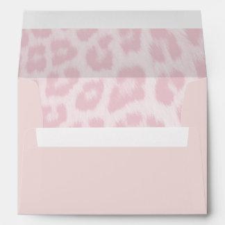 Blush Pink Envelope With Baby Pink Cheetah Print