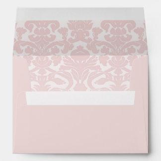 Blush Pink Envelope With Baby Pink Damask Print